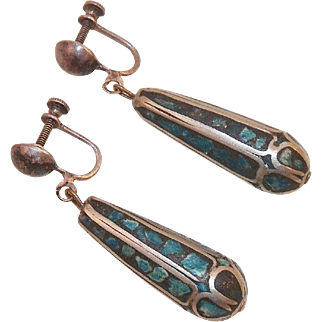 Vintage Sterling Inlaid Turquoise Drop Earrings India