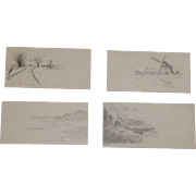 Four Chinese Hand Drawn Pencil Game Cards