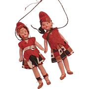 Pair Of German Miniature Painted Porcelain Dolls