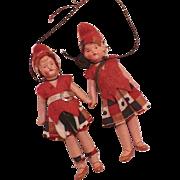 Pair Of German Miniature Painted Porcelain Dolls