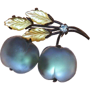 Austrian Forbidden Fruit Satin Glass Rhinestone Pin