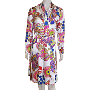 1960's Shannon Rodgers For Jerry Silverman Silk Bright Print Dress