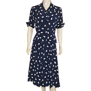 1940's R and K Original Rayon Navy and White Two Piece Dress