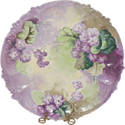 Limoges GDA Hand Painted Violets Cabinet Plate