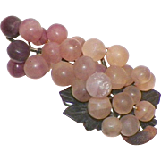 Asian Cluster Of Purple Soapstone Or Quartz Grapes and Leaves