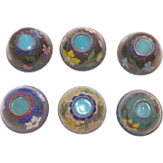 Set Of Six Japanese Cloisonne Sake Cups