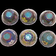 Set Of Six Japanese Cloisonne Sake Cups