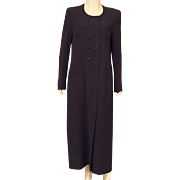 1980's Sonia Rykiel Paris Black Coat Dress Size 10