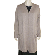 Long Beige Cashmere Cardigan Sweater
