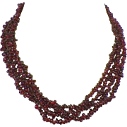 Vintage Garnet Bead Torsade Necklace