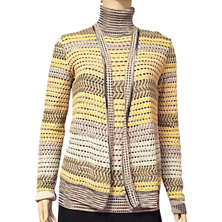 Vintage 1980's Missoni Rayon and Silk Sweater Set Size 12