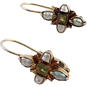 Sterling Vermeil Earrings With Peridot and Pearls