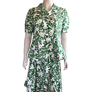 Oscar De La Renta Green and White Cotton Suit Size 12