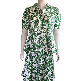 Oscar De La Renta Green and White Cotton Suit Size 12