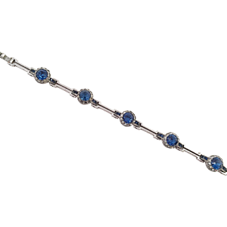 Art Deco Chrome and Blue Rhinestone Bracelet