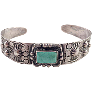 Vintage Native American Navajo Silver and Turquoise Cuff Bracelet