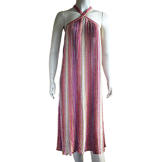 Vintage Missoni Tank Dress Linen Nylon Metallic Size M