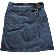 Vintage Chanel Denim Wrap Skirt Size 44