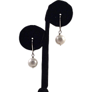 Sterling and White Pearl Drop Earrings