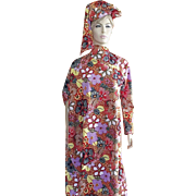 Vintage Ethnic Tribal Long Dress / Costume With Matching Hat