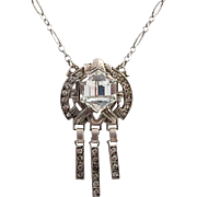 Art Deco Uncas Sterling and Clear Rhinestone Necklace