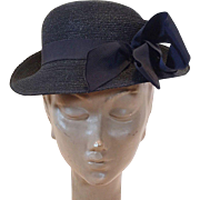 Vintage Black Straw Hat With Navy Blue Grosgrain Ribbon