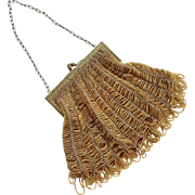 Edwardian Knitted Beaded Purse With Amber Colored Beads