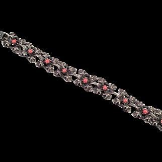 Vintage Art Nouveau Style Silver Metal Bracelet