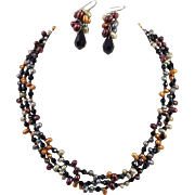 Three Strand Colored Pearl Necklace and Earrings Artist Made