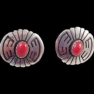 Native American Sterling Red Coral Pierced Earrings