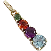 14K Gold Pendant With Semi-Precious Gemstones