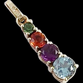 14K Gold Pendant With Semi-Precious Gemstones