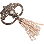 Judith Jack Sterling Marcasite Pin With Faux Pearl Tassels