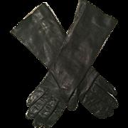 Italian Black Kid Leather Gloves
