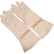 Vintage White Kid Leather Gloves With Pearls and Rhinestones