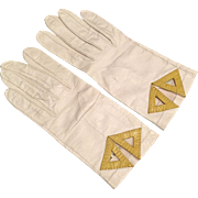 Viola Weinberger White Kid Leather Gloves With Chartreuse Details Made In France