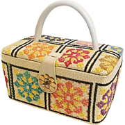 Vintage Needlepoint Straw Box Purse
