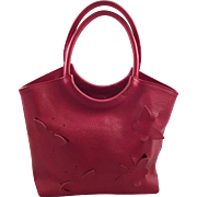 Italian Claudia Red Embossed Leather Purse With Butterfly Design