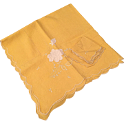 Vintage Yellow and White Cut Work Bridge Cloth and Napkins