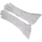 Vintage White Kid Leather Gloves With Gathered Cuffs