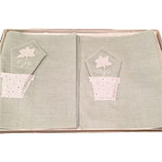 Vintage Green 100% Linen Luncheon Set Placemats Napkins