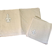 Set Of Eight Irish Linen Placemats and Napkins Fleur-De-Lis Design Unused