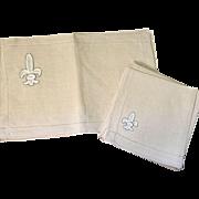 Set Of Eight Irish Linen Placemats and Napkins Fleur-De-Lis Design Unused