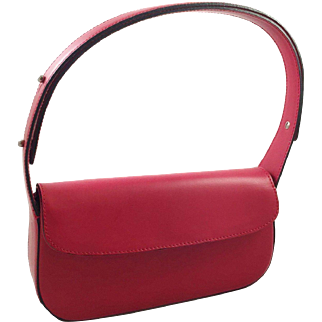 Italian Red Leather Handbag Purse From Scoula Del Cuoio