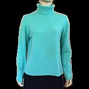 Ladies' Turquoise Cashmere Turtleneck Sweater Size L