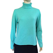 Ladies' Turquoise Cashmere Turtleneck Sweater Size L
