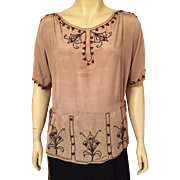 1920's Art Deco Beaded Silk Blouse