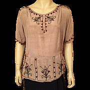 1920's Art Deco Beaded Silk Blouse