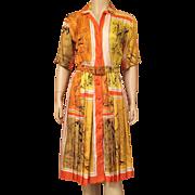 Vintage 1950's Silk Shirt Waist Dress Unfinished