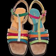 Vintage Bob Baker Colorful Strappy Sandals Size 7.5